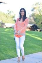white Anthropologie jeans - salmon Aqua sweater