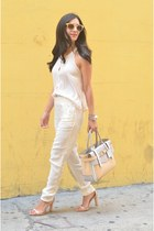 light pink Reed Krakoff bag - ivory sam & lavi pants - nude Zara heels