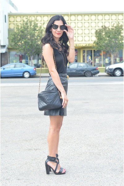 black leather vintage skirt - black Chanel bag - black Moschino belt