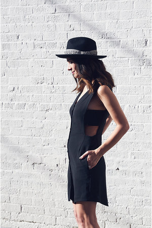 black Zara shoes - black Cosette Clothing dress - black Anthropologie hat