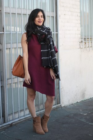 brown rag & bone boots - crimson Dailylook dress - black Zara scarf
