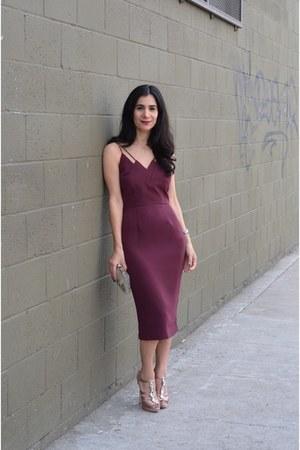 light pink Miu Miu heels - maroon keepsake dress - white vintage bag