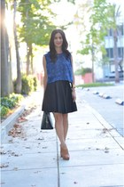 blue vintage top - black Louis Vuitton bag - camel Pour La Victoire heels