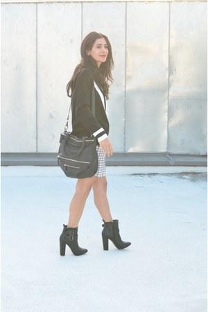 black Sheinside sweater - black JustFab boots - white Joie dress