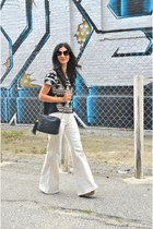 black Chane bag - black Miu Miu sunglasses - ivory American Apparel pants