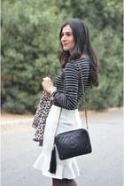 black Chanel bag - brown leopard print H&M coat