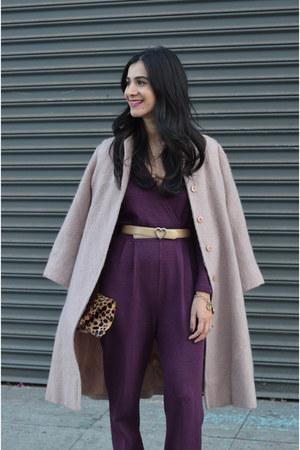 deep purple vintage jumper - pink Valentino coat - brown Clare Vivier bag