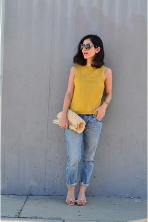 blue vintage jeans - beige vintage bag - nude Zara heels - gold vintage blouse