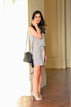 black Chanel bag - off white Joie dress - beige Alexander Wang heels