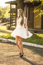 white cotton Eyeboxs dress - black OASAP bag - Lovelywholesale sandals