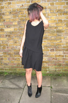 black Zara boots - black Crea Concept dress - silver Monki necklace