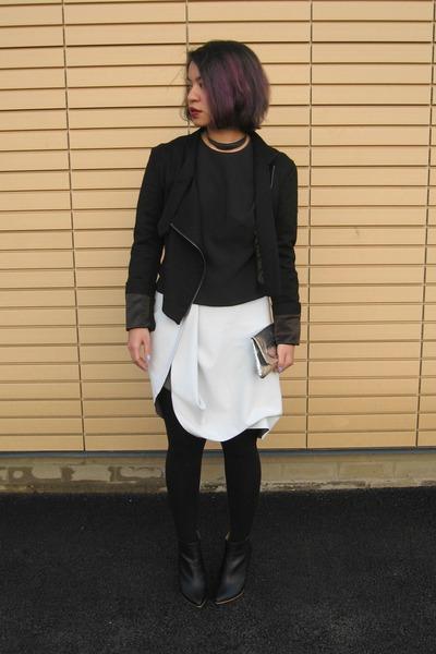 black Margiela x H&M boots - black wool biker Jean Pierre Braganza jacket
