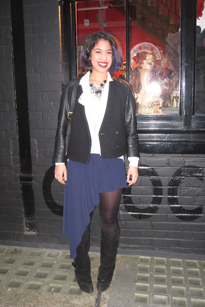 navy asymmetrical Topshop skirt - black suede buckled asos boots