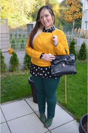 c&a sweater - unknown boots - OASAP bag - H&M pants - polka dotted H&M top