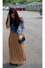 Black-forever-21-purse-camel-maxi-old-navy-skirt-heather-gray-forever-21-top