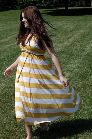 yellow maxi H&M dress - brown braided H&M belt - ivory Old Navy sandals