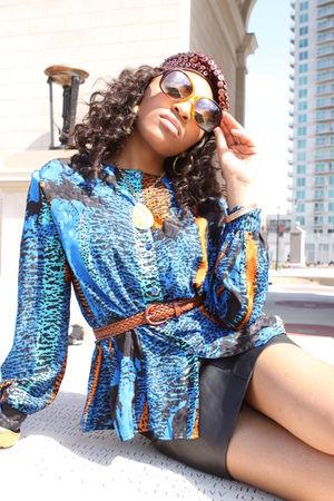 black Thrift Store skirt - brown unsure belt - brown Forever 21 glasses