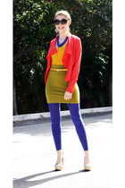 blue H&M leggings - salmon Vero Moda blazer - mustard Only shirt