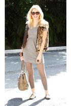 brown Fever vest - tan espresso dress - light brown H&M leggings - tan GG&L bag