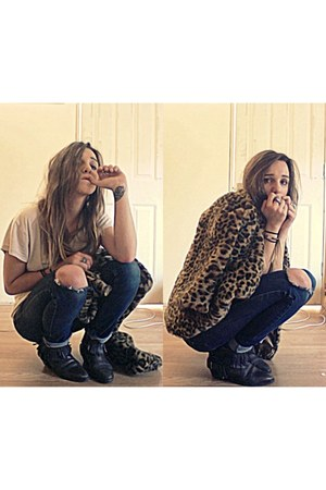 leopard print vintage jacket - fringed boots - ripped jeans