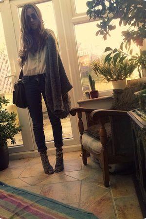 brown vintage bag - black vintage sunglasses - gray H&M cardigan - white vintage