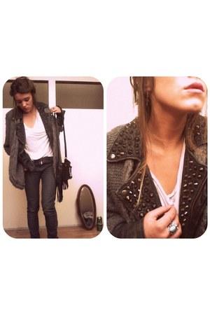 black Aallsaints jeans - black studded allsaints jacket - fringed Topshop bag -