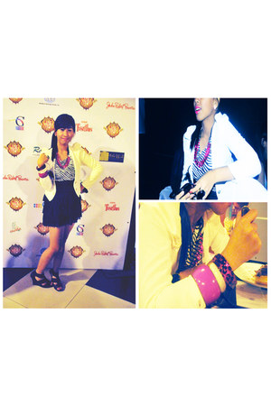 dark gray zebra print Juana dress - white K&Co blazer - hot pink People are Peop