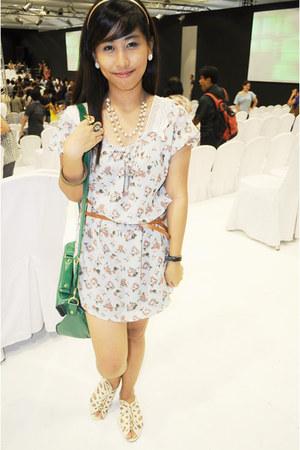light blue floral dress Forever 21 dress - teal satchel Her Story Manila bag - w