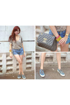 leopard print top - Bass shoes - Chanel bag - abercrombie and fitch shorts