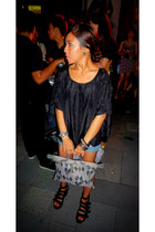 vivienne westwood bag - Old Navy shorts - satin Marc Jacobs top - wedges - DKNY