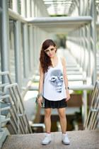 rubi shoes - skirt - artwork top