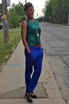 H&M pants - Forever 21 belt - silk Zara top