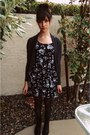 Forever-21-dress-gray-forever-21-cardigan-green-unknown-brand-socks-black-