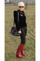 brick red Sergio Rossi boots - black natan couture blazer - black Gucci bag - ta