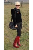 brick red Sergio Rossi boots - black natan couture blazer - black Gucci bag - ta