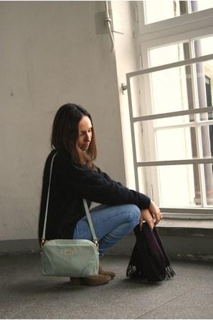camel Zara boots - aquamarine Bimba & Lola bag - black H&M jumper