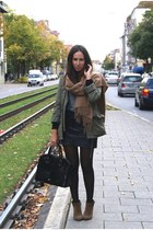 camel Zara boots - army green Zara jacket - black Mango bag