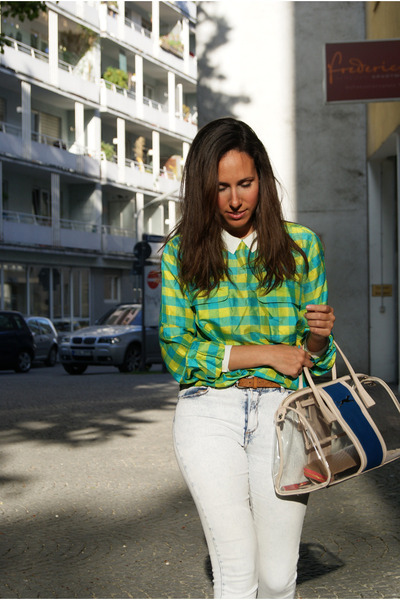 turquoise blue vintage shirt - navy Bimba&Lola bag