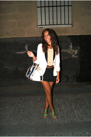 black H&M shorts - white Zara blazer - peach Mango bodysuit - green H&M sandals
