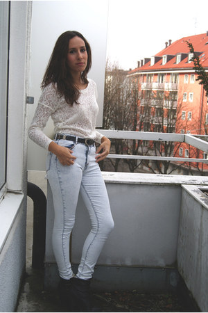 white Pinkie sweater - black BLANCO boots - light blue H&M jeans