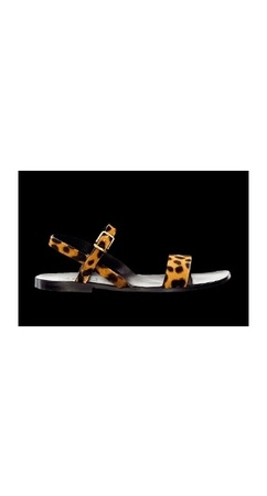 YSL pony hair leopard sandals