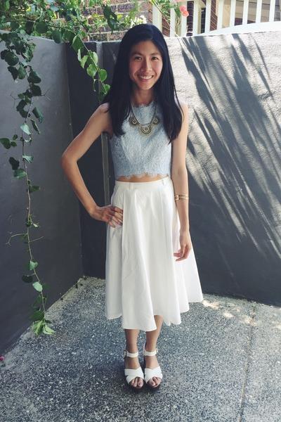 white shoes - white skirt