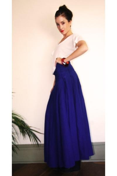 Blue Silk Maxi Scanlan & Theodore Skirts, White Modal Tee Kain Ts ...