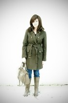 olive green JC Pennys coat - tan coach bag - tan Wanted boots - navy Old Navy je