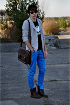 dark brown asoscom boots - blue pull&bear jeans - black asoscom hat - silver Sec