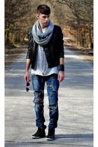DIY jeans - asoscom jacket - handmade scarf - Cubus sunglasses - DIY t-shirt - a