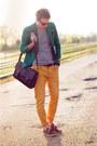 Brown-timberland-shoes-dark-green-zara-blazer-dark-brown-asoscom-bag