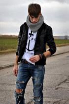 DIY jeans - Zara jacket - handmade scarf - asos bracelet - 5Preview t-shirt - pu