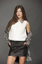 black leopard Mango jacket - white Mango shirt - black leather Mango skirt