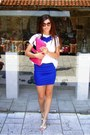 White-vintage-shirt-hot-pink-local-store-bag-blue-i-made-it-diy-necklace